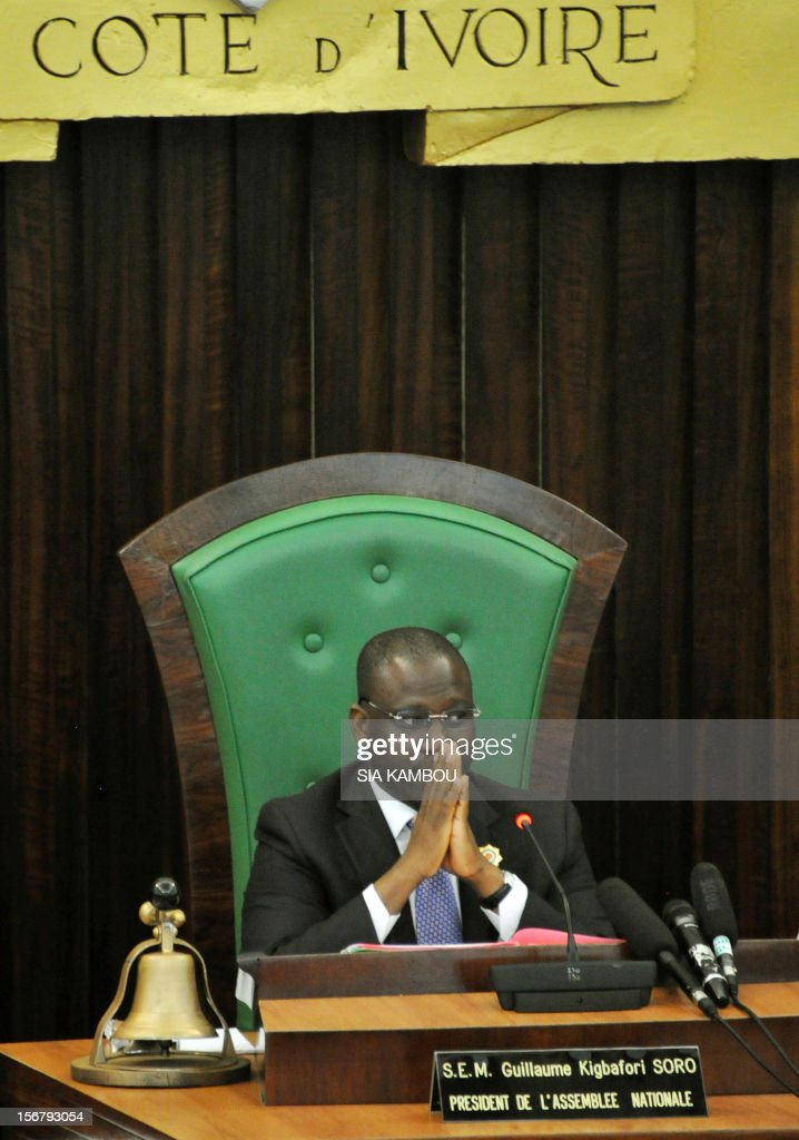 National Assembly President Guillaume Soro on November 21, 2012 attends a vote on bills presented by the government at the parliament in Abidjan. President Alassane Ouattara on November 14 dissolved the government formed in March and charged with reviving the country after the political and military crisis of 2010-2011 due to differences among the governing parties -- Ouattara's RDR, former president Henri Konan Bedie's PDCI and the small UDPCI party.