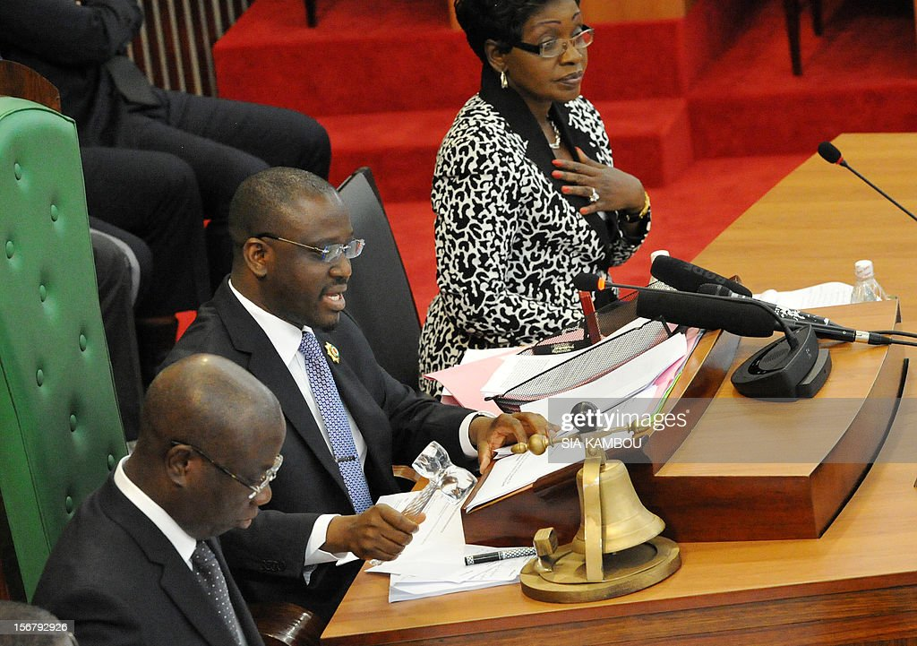 National Assembly President Guillaume Soro (C) on November 21, 2012 leads the vote on bills presented by the government at the parliament in Abidjan. President Alassane Ouattara on November 14 dissolved the government formed in March and charged with reviving the country after the political and military crisis of 2010-2011 due to differences among the governing parties -- Ouattara's RDR, former president Henri Konan Bedie's PDCI and the small UDPCI party. AFP PHOTO / SIA KAMBOU