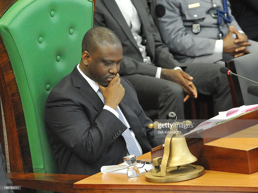 National Assembly President Guillaume Soro on November 21, 2012 supervises the vote on bills presented by the government at the parliament in Abidjan. President Alassane Ouattara on November 14 dissolved the government formed in March and charged with reviving the country after the political and military crisis of 2010-2011 due to differences among the governing parties -- Ouattara's RDR, former president Henri Konan Bedie's PDCI and the small UDPCI party.