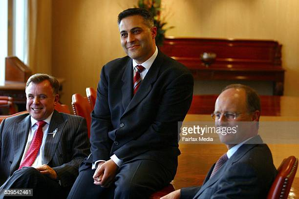 NAB National Australia Bank From left to right John Stewart new Australian CEO Ahmed Fahour and Michael Ullmer Group CFO 11 August 2004 For AGE...