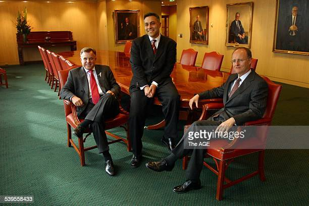 NAB National Australia Bank LR John Stewart new Australian CEO Ahmed Fahour and Michael Ullmer Group CFO 11 August 2004 THE AGE Picture by NICOLE...
