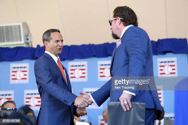 National Baseball Hall of Fame and Museum President Jeff Idelson greets inductee Jeff Bagwell during the 2017 Hall of Fame Induction Ceremony at the...