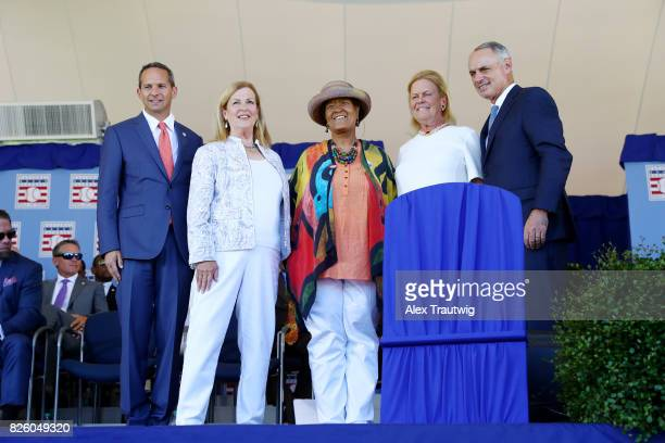 National Baseball Hall of Fame and Museum President Jeff Idelson Claire Smith winner of the JG Taylor Spink Award Kathleen Lowenthal accepting the...