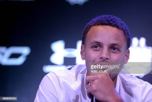 National Basketball Association Golden State Warriors and 20142015 season Most Valuable Player Stephen Curry reacts during a press conference in...