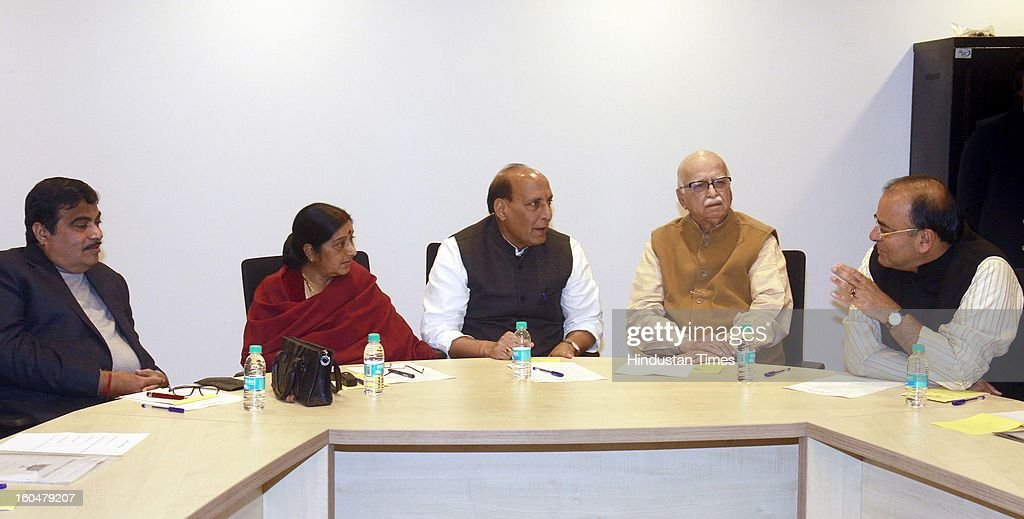 National BJP President Raj Nath Singh, BJP Leader Lal Krishna Advani, Sushma Swaraj, Former BJP President Nitin Gadkari, Arun Jaitley during the BJP Core Group Meeting at BJP HQ on February 1, 2013 in New Delhi, India. The BJP today decided it will boycott meetings called by Home Minister Sushilkumar Shinde as leader of house in the Lok Sabha over his 'Hindu terrorism' and 'saffron terrorism' remarks made at the Congress conclave in Jaipur last month.
