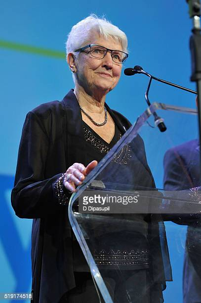 PFLAG national board president Jean Hodges speaks onstage at PFLAG National's eighth annual Straight for Equality awards gala at Marriot Marquis on...