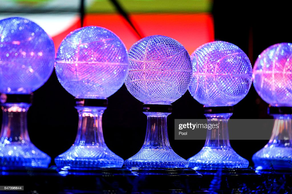 National championship trophies won by the Lady Vols team during Pat Summitt's career are illuminated on stage during a ceremony to celebrate the life...