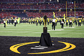 National Championship Trophy sits in the end zone prior to the College Football Playoff National Championship Game between the Oregon Ducks and the...