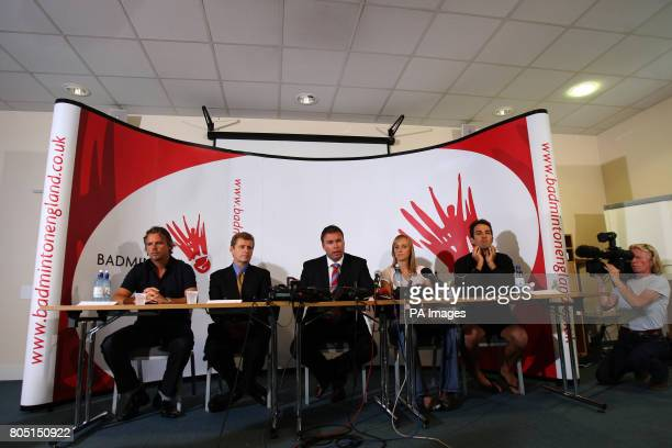 National coach Andy Wood Performance Director Ian Moss Chief Executive Adrian Christie players Donna Kellogg and Nathan Robertson speak to the media...