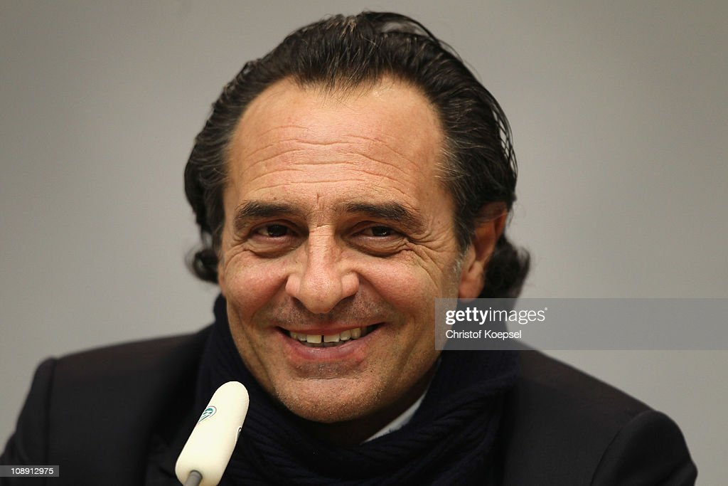 National coach <a gi-track='captionPersonalityLinkClicked' href=/galleries/search?phrase=Cesare+Prandelli&family=editorial&specificpeople=742442 ng-click='$event.stopPropagation()'>Cesare Prandelli</a> of Italy attends the Italy press conference at the Signal Iduna Park on February 8, 2011 in Dortmund, Germany. The international friendly match between Germany and Italy will take place on February 9, 2011 in Dortmund, Germany.