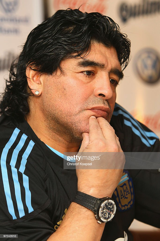 National coach Diego Maradona attends a Argentina National team press conference on March 1, 2010 in Munich, Germany.