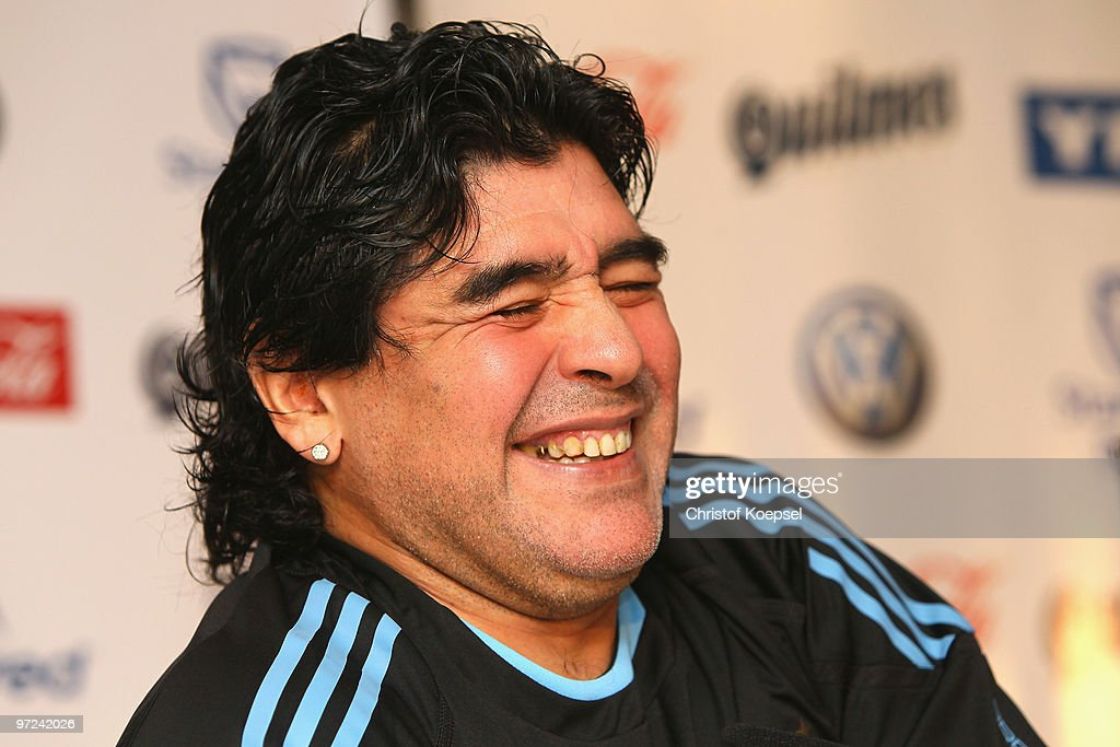 National coach <a gi-track='captionPersonalityLinkClicked' href=/galleries/search?phrase=Diego+Maradona&family=editorial&specificpeople=210535 ng-click='$event.stopPropagation()'>Diego Maradona</a> attends a Argentina National team press conference on March 1, 2010 in Munich, Germany.