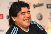 National coach Diego Maradona attends a Argentina National team press conference on March 1 2010 in Munich Germany