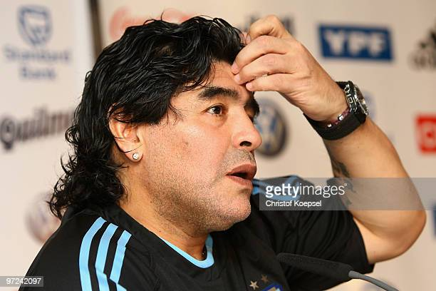National coach Diego Maradona attends the Argentina National team press conference on March 1 2010 in Munich Germany