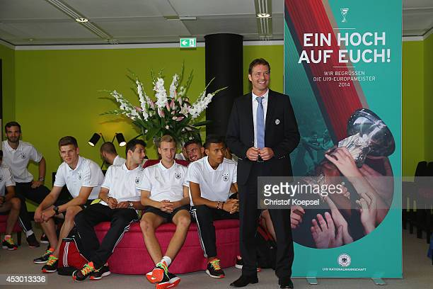 National coach Marcus Sorg during the arrival of the U19 team of Germany at Frankfurt International Airport on August 1 2014 in Frankfurt am Main...