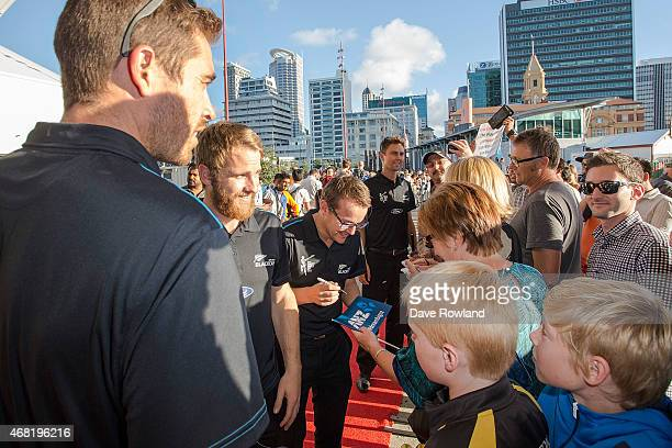 National Coach Mike Hesson signs autographs during the New Zealand Blackcaps Welcome Home Reception at Queen's Wharf on March 31 2015 in Auckland New...