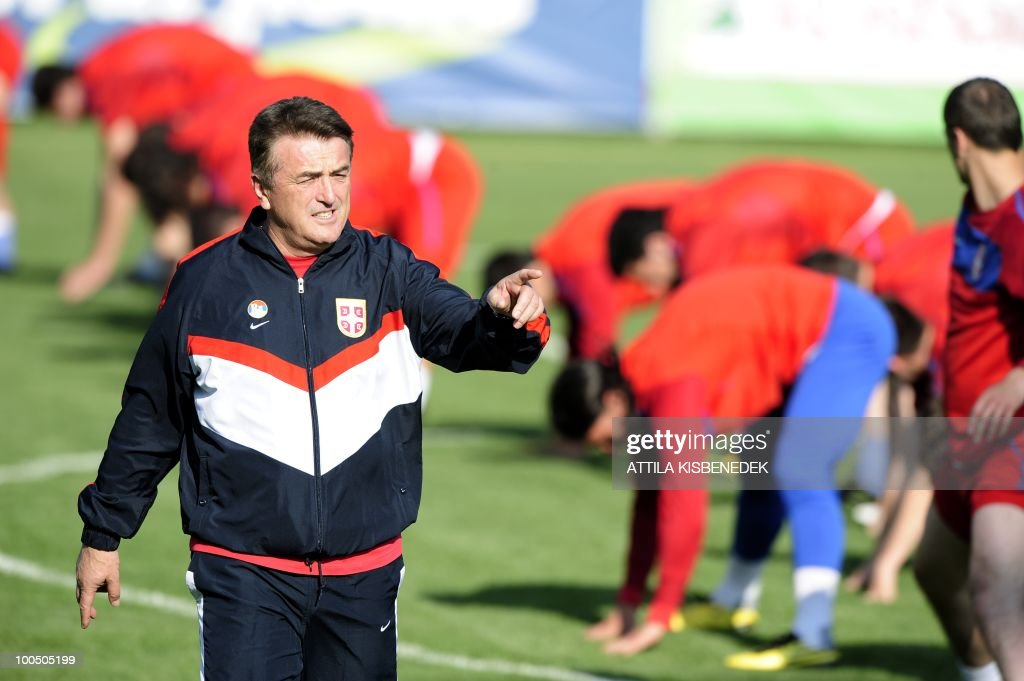 National coach of the Serbian team Radomir Antic directs his team in the local stadium of Leogang, Austria on May 25, 2010 during the first training session of the Serbian team in their training camp to prepare for the 2010 World Cup in South Africa.