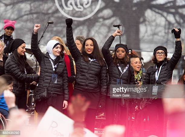 National CoChairs of Women's March Carmen Perez Linda Sarsour and Tamika D Mallory attend the Women's March on Washington on January 21 2017 in...