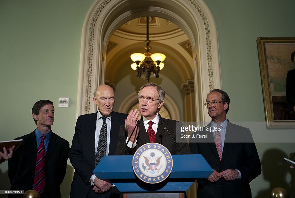 National Commission on Fiscal Responsibility and Reform Executive Director Bruce Reed, far left, and Co-Chairs Alan Simpson and Erskine Bowles, right, with Senate Majority Leader Harry Reid, D-Nev., after their meeting.