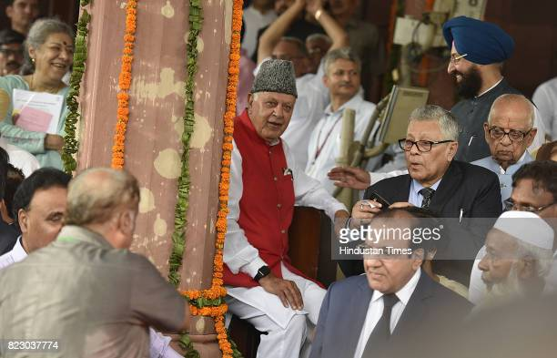 National Conference leader Farooq Abdullah along with Pratap Singh Bajwa after the Newly president Ramnath Kovind Oath ceremony at Parliament House...
