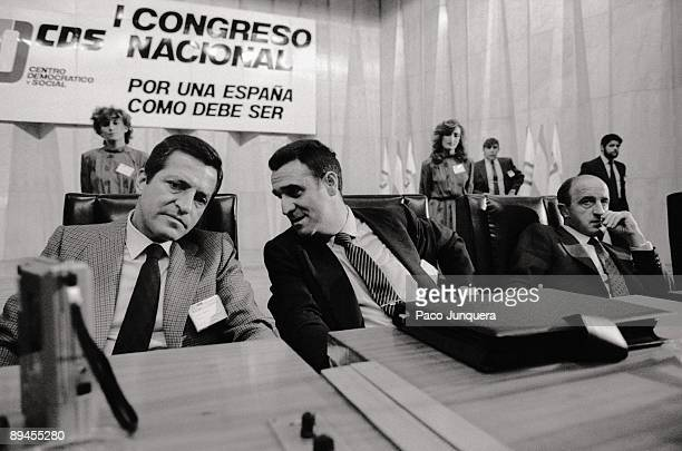 CDS´national congress Adolfo Suarez and Agustin Rodriguez Sahagun in the first congress of the moderate party