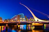 National Convention Centre and Samuel Beckett Bridge on River Liffey, Dublin, Ireland