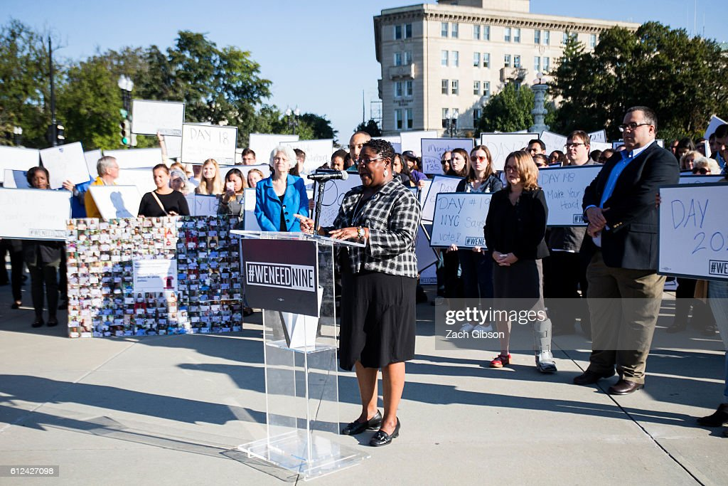 National Council of the Churches of Christ in the USA Associate General Secretary for Action Rev. Aundreia Alexander speaks during a rally urging the U.S. Senate to hold a confirmation vote for Supreme Court Nominee Merrick Garland outside of The Supreme Court of the United States on October 4, 2016 in Washington, DC. Today marks the 202nd day since President Barack Obama nominated Judge Garland to fill the vacancy left after former Justice Antonin Scalia passed away in February.