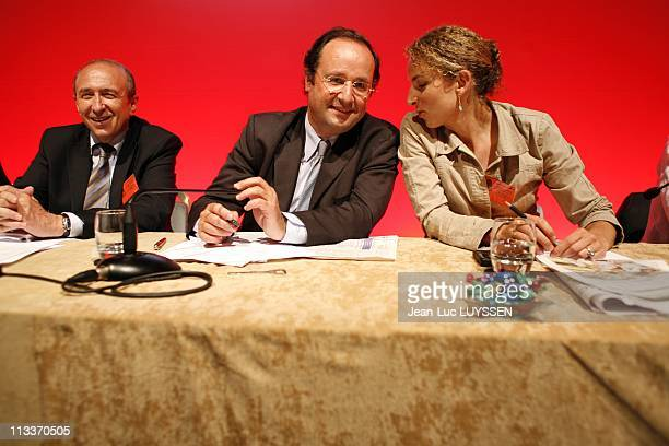 National Council Of The Socialist Party In Paris France On July 02 2008 Gerard Collomb Francois Hollande Delphine Batho