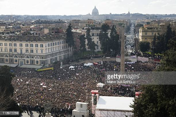 National Demonstration Against Silvio Berlusconi In Rome Italy On February 13 2011View of Piazza del Popolo demonstration from Villa Borghese's...