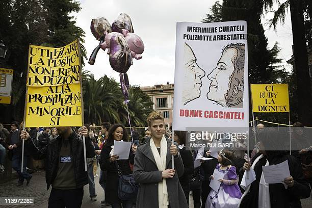 National Demonstration Against Silvio Berlusconi In Rome Italy On February 13 2011near Piazza del Popolo national demonstration appealing for greater...