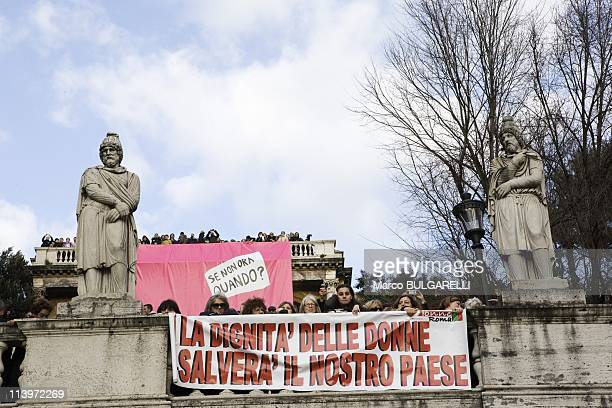 National Demonstration Against Silvio Berlusconi In Rome Italy On February 13 2011View of Villa Borghese's Pincio terrace during national...