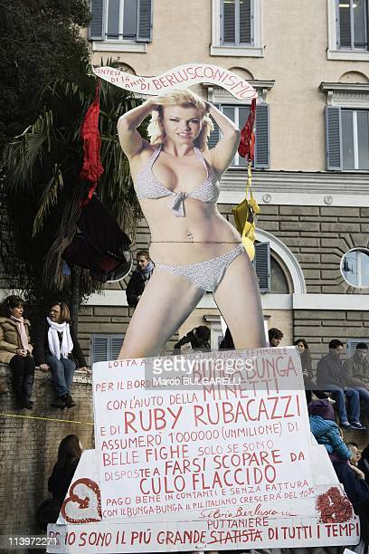 National Demonstration Against Silvio Berlusconi In Rome Italy On February 13 2011Piazza del Popolo national demonstration appealing for greater...