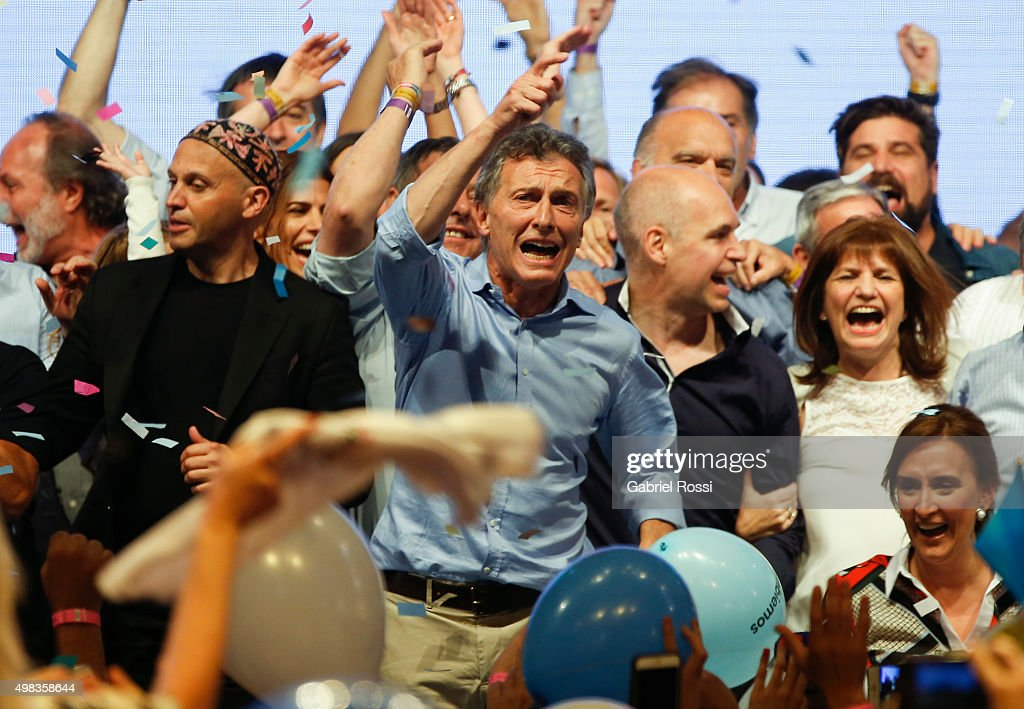 National Deputy Rabbi Sergio Bergman, Mauricio Macri Presidential Candidate for Cambiemos, Mayor-elected of the city of Buenos Aires Horacio Rodríguez Larreta, national Deputy Patricia Bullrich an candidate to the vice presidency Gabriela Michetti celebrate after runoff elections at Cambiemos Bunker on November 22, 2015 in Buenos Aires, Argentina.