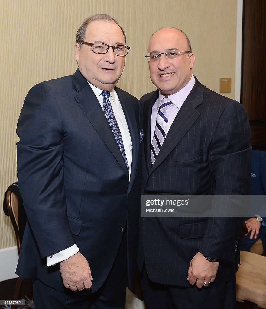 National Director Abraham Foxman (L) and LionTree Advisors CEO Aryeh Bourkoff attend the Anti-Defamation League Centennial Entertainment Industry Awards Dinner Honoring Jeffrey Katzenberg at The Beverly Hilton Hotel on May 8, 2013 in Beverly Hills, California.