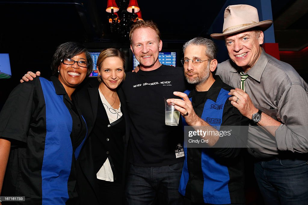 National Director at SAGIndie Darrien Michele Gipson, guest, filmmaker Morgan Spurlock, Director Michael Sladek, and actor Christopher McDonald attend the SAG/Indie Party during the 2013 Tribeca Film Festival on April 21, 2013 in New York City.