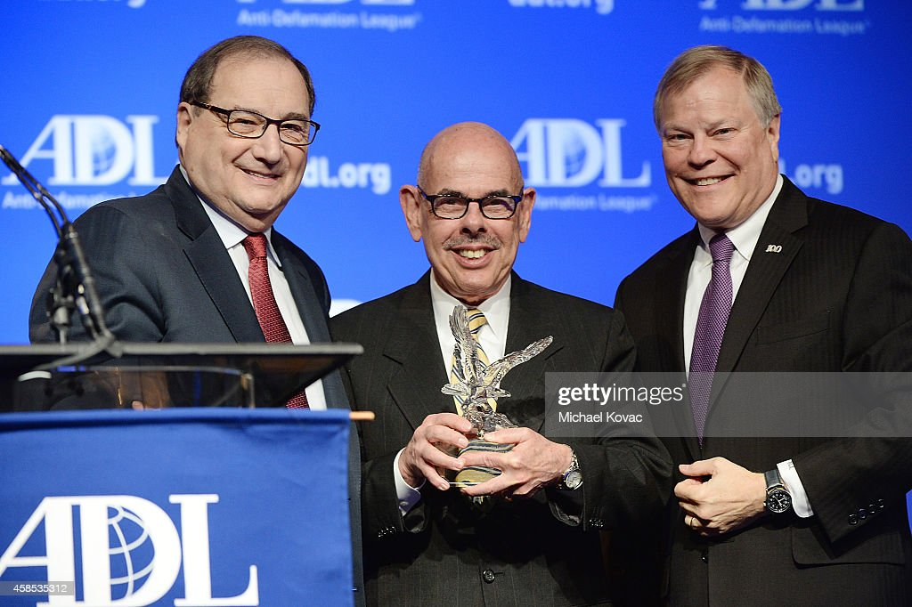 National Director of the Anti-Defamation League, <a gi-track='captionPersonalityLinkClicked' href=/galleries/search?phrase=Abraham+Foxman&family=editorial&specificpeople=2499499 ng-click='$event.stopPropagation()'>Abraham Foxman</a> (L) and ADL National Chair Barry Curtiss-Lusher (R) present the ADL Distinguished Public Service Award to Congressman <a gi-track='captionPersonalityLinkClicked' href=/galleries/search?phrase=Henry+Waxman&family=editorial&specificpeople=217361 ng-click='$event.stopPropagation()'>Henry Waxman</a> at the morning session of the ADL Annual Meeting on November 6, 2014 in Los Angeles, California.