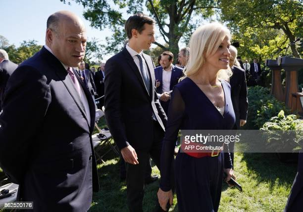 National Economic Council Director Gary Cohn Senior Advisor to the President Jared Kushner and Counselor to the President Kellyanne Conway make their...