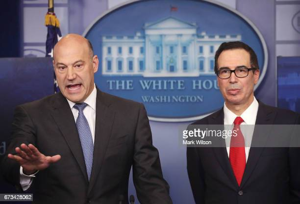 National Economic Director Gary Cohn and Secretary of the Treasury Steven Mnuchin speak about President Donald Trump's new tax reform plan during a...