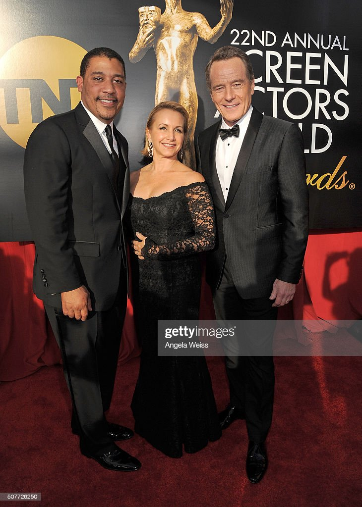 National Executive Director David White and SAG-AFTRA Executive VP Gabrielle Carteris with actor Bryan Cranston attend the 22nd Annual Screen Actors Guild Awards at The Shrine Auditorium on January 30, 2016 in Los Angeles, California.