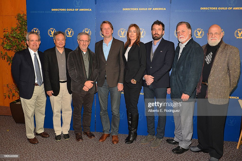 DGA National Executive Director Jay D. Roth, Directors Ang Lee, Steven Spielberg, Tom Hooper, Kathryn Bigelow, <a gi-track='captionPersonalityLinkClicked' href=/galleries/search?phrase=Ben+Affleck&family=editorial&specificpeople=201856 ng-click='$event.stopPropagation()'>Ben Affleck</a>, Director/DGA President Taylor Hackford and Director Jeremy Kagan attend the 65th Annual Directors Guild of America Awards President's Breakfast held at the DGA on February 2, 2013 in Los Angeles, California.