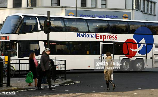 National Express coach drives past Victoria Coach Station in central London 04 January 2007 Two people were killed and several injured when a...
