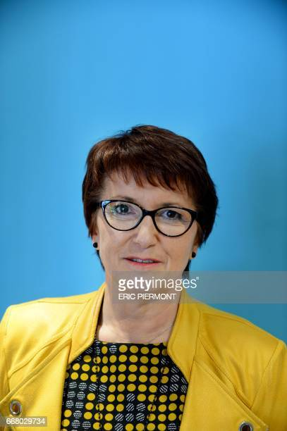 National Federation of Agricultural Holders's Unions new president Christiane Lambert poses for a picture prior to a press conference at the union's...