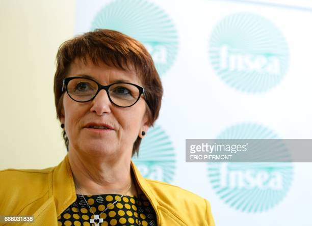 National Federation of Agricultural Holders's Unions new president Christiane Lambert arrives to give a press conference at the union's headquarters...