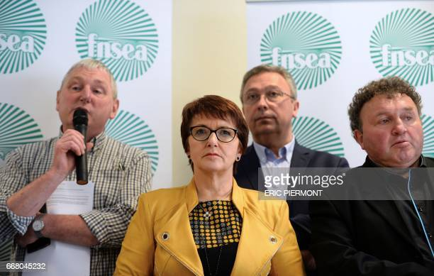 National Federation of Agricultural Holders's Unions new president Christiane Lambert listens during a press conference at the union's headquarters...