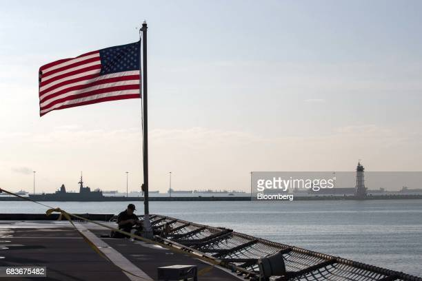 A US national flag flies aboard the US Navy's USS Coronado littoral combat ship at the IMDEX Asia 2017 maritime defence show in Singapore on Tuesday...