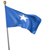 Realistic 3D render of a flag pole with the national flag of Somalia waving in the air against a white background.