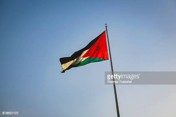 National flag of Jordan on October 04 2016 in Amman Jordan