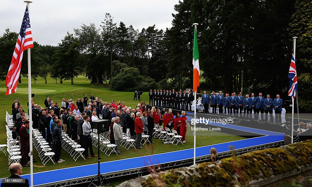 National flags a re raised during the opening ceremony ahead of the 26th PGA Cup at De Vere Slaley Hall on September 19, 2013 in Hexham, England.