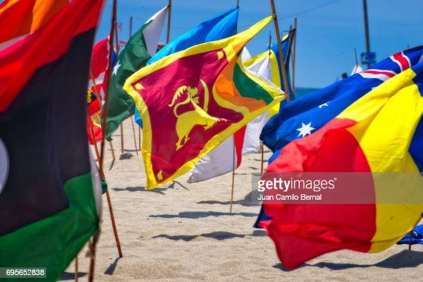 National flags at Venice Beach highlighting the flag of Sri Lanka