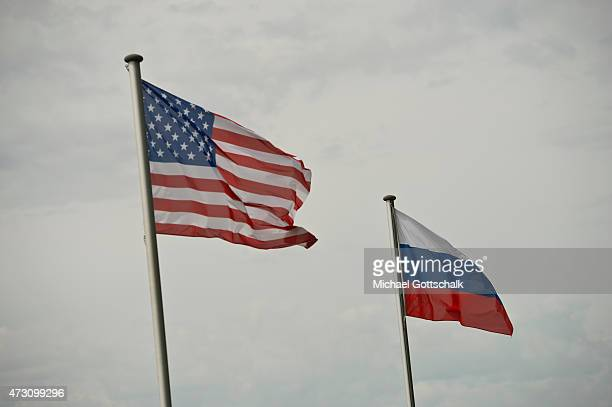 National Flags of USA and Russia on May 12 2015 in Torgau Germany